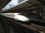 The Shinkansen Bullet Train comes into Kyoto Station.